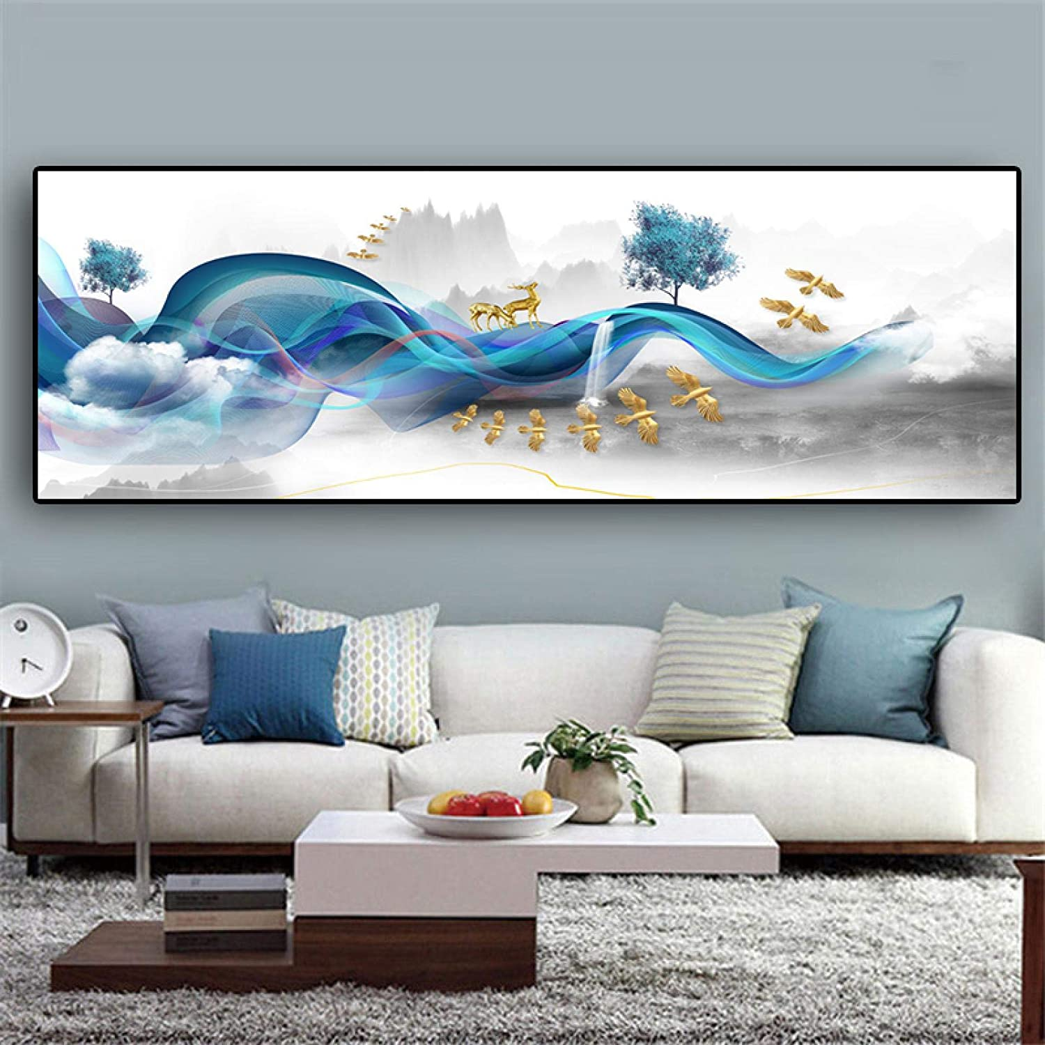 Sunsightly Print on Canvas A surprise price is realized Modern Blue B Landscape Line Milwaukee Mall Abstract