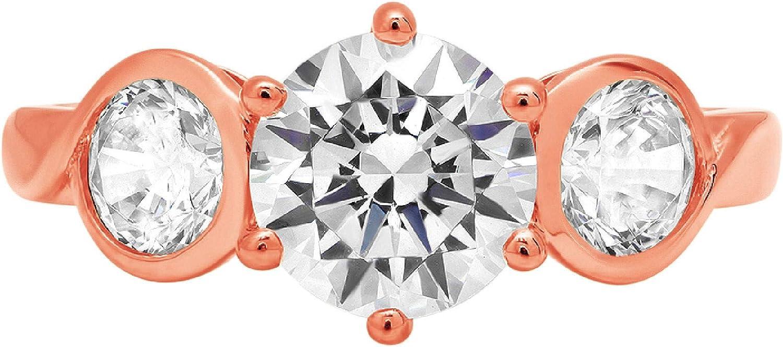 Clara Pucci 1.95 ct Brilliant Round Cut 3 stone Solitaire Stunning Genuine Flawless White Lab Created Sapphire Gem Designer Modern Statement Accent Ring Solid 18K Pink Rose Gold