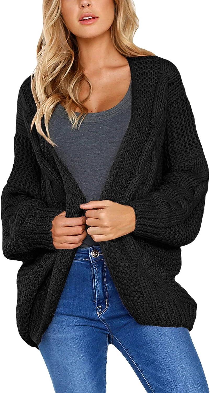 Arainlo Womens Casual Open Front Long Sleeve Chunky Knit Cardigan Sweater Loose Outwear Coat