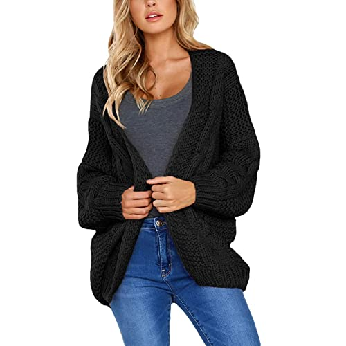 e5485c6b42 DOKOTOO Womens Open Front Long Sleeve Chunky Knit Cardigan Sweater S-XXL