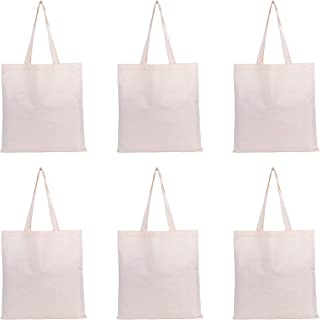 AQVA Blue Collection Unisex Natural Color Cotton 5 Oz Canvas Reusable Eco Friendly Super Strong Washable Grocery Bags with...