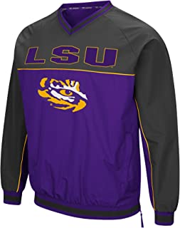 Colosseum Men's NCAA Athletic V-Neck Windbreaker Pullover with Tackle Twill Embroidery