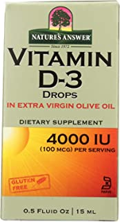 2 Pack of Nature's Answer Vitamin D-3 Drops in Extra Virgin Olive Oil 4000 IU - 0.5 fl oz
