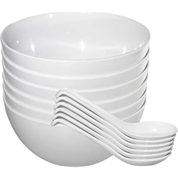 Chef Miso Set of Six Large Plastic Melamine Pho Bowls and Spoons White 48 Ounce
