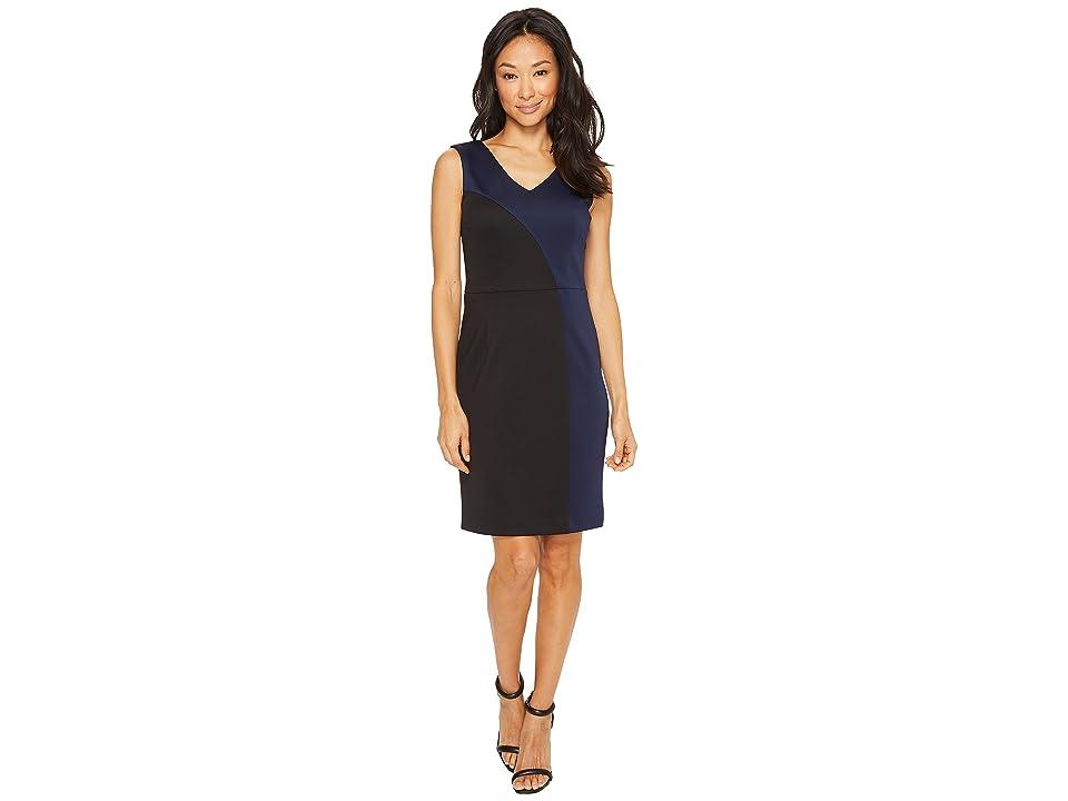 Ellen Tracy Color Block Dress with V-Neck (Black/Navy) Women