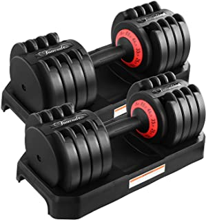Funcode Adjustable Dumbbell 44 or 88 Lb, Multiweight Options, Anti-Slip Handle, All-Purpose, Home, Gym, Office…