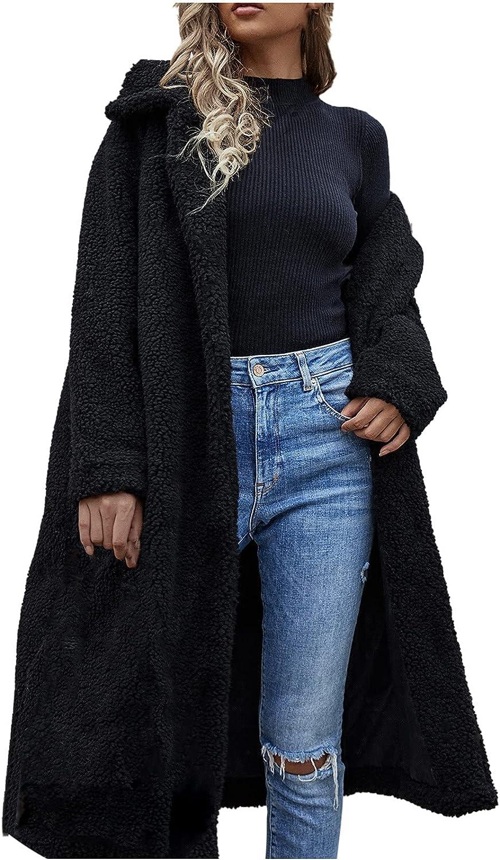 Womens Warm Faux Fur Coat Jackets Winter Open Front Cardigan Tops Solid Turndown Outerwear Furry Long Overcoat