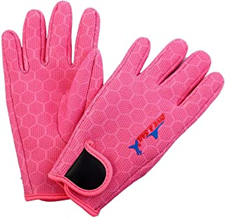 1Pc Dive & SAIL Authorized Swimming Surfing Diving Hexagonal Pattern Anti-Slip Five Finger Hand Protector Gloves Pair Pink