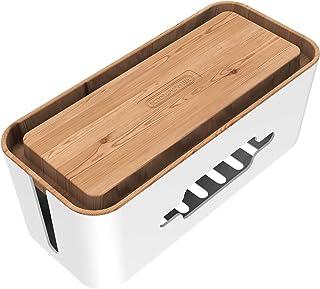 Kabelbox Groß NTONPOWER XXL Steckdosenbox Kabelsammler Aufbewahrungsbox für Kabelführungs Ladekabel Aus ABS Kunststoff mit Belüftung, 43x18x16cm- hölzerne Textur Organizer, MEHRWEG