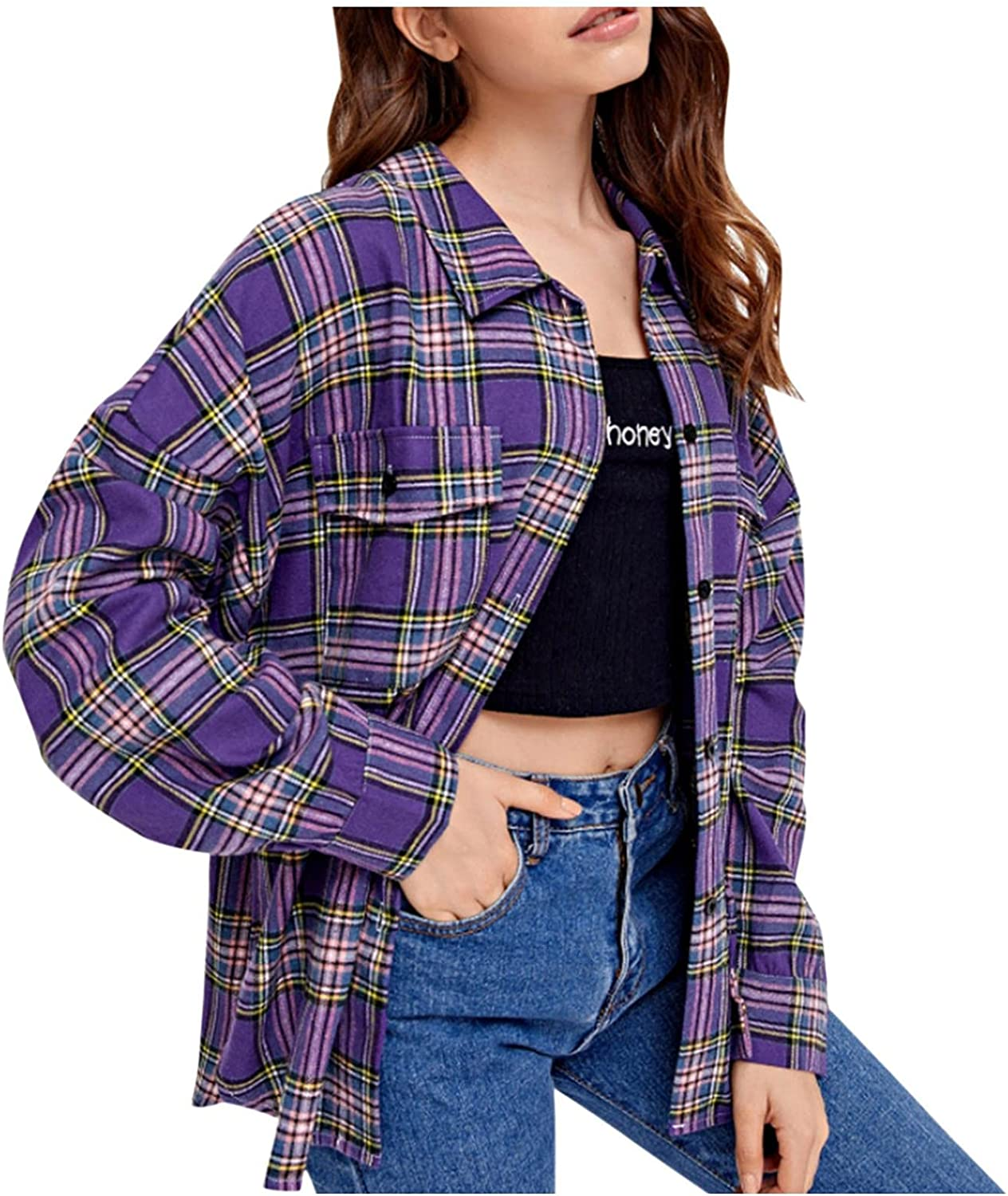 Plaid Shirts for Women, Long Sleeve Casual Loose Classic Checkered Button Down Shirt Lightweight Blouse Tops