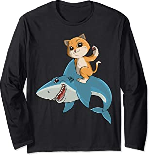 Cat Riding Shark Cat Lovers Shark Lovers Long Sleeve T-Shirt