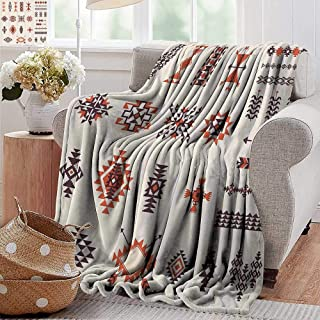 PearlRolan Baby Blanket,Native American,Illustration of Aztec Culture Pattern Tribal Design Geometric Print,Orange and Brown,Super Soft Light Weight Cozy Warm Plush Hypoallergenic Blanket 30