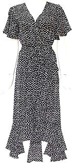 فستان طويل ملفوف صيفي مطبوع بنمط الازهار باللون الاسود