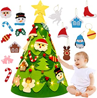 3D Felt Christmas Tree, Outgeek 2.3Ft DIY Xmas Tree with 28PCS Detachable Ornaments and Light String Xmas Gifts for Kids Toddler Christmas Decoration