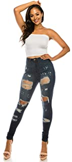 AP Blue Aphrodite High Waisted Jeans for Women - High Rise Skinny Womens Hand Sanding Distressed Jeans