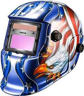 Solar Power Auto Darkening Welding Helmet Blue Eagle Design with Wide Lens Adjustable Shade Range 4/9-13 for Mig Tig Arc Weld Grinding Welder Mask