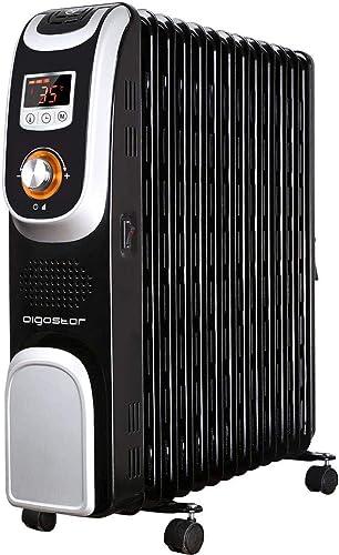 Aigostar Oil Monster 33JHH – Radiateur à bain d'huile portable. 13 éléments, 2500 W. Écran de contrôle LED, télécomma...