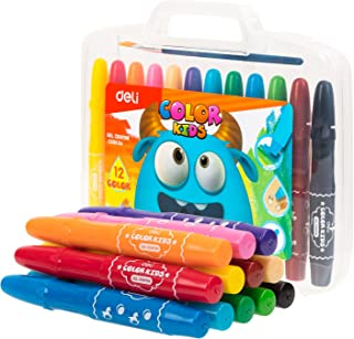 Deli Washable Twisted Gel Crayon Kit with Brush, Art Supplies for Kids, Teens and Adults, Non-Toxic, Assorted 12 Sparkle C...