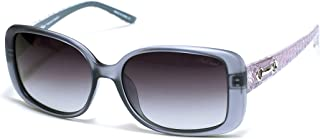 Red Carpet Women's Amethyst Polarized Rectangular Sunglasses, Smoke, Pink & Silver Metal, 57 mm