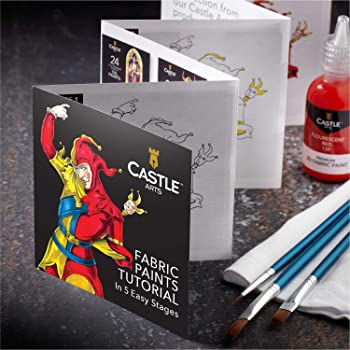 Castle Art Supplies 3D Fabric Paint Set - 24 Premium Vibrant Colors Perfect for Clothing, Canvas, Glass and Wood - In...