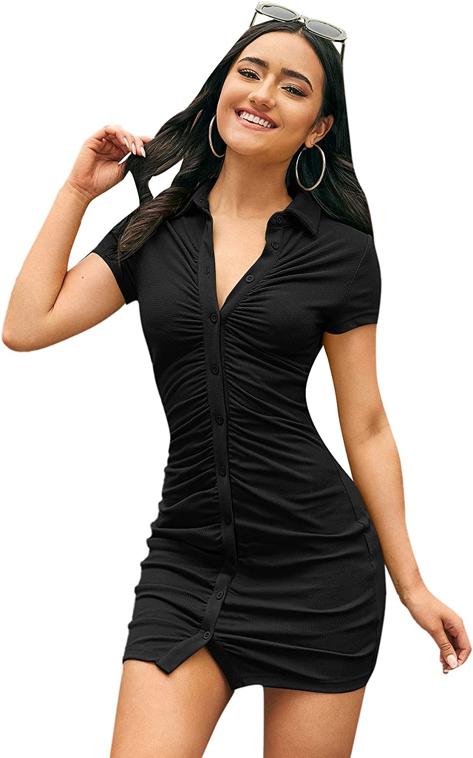 Romwe Women's Ribbed Max 48% OFF Short Sleeve Button Mini Lapel Down Ruched Fort Worth Mall