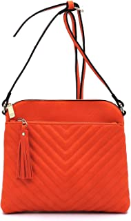 Janin Handbag Chevron Quilted Medium Crossbody Bag with Tassel Accent