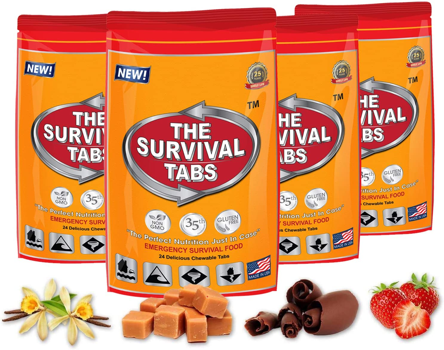 Survival Tabs 8-Day Food Supply 96 Tabs Emergency Food Replacement Disaster Preparedness for Earthquake Flood Tsunami Gluten Free and Non-GMO 25 Years Shelf Life Long Term Food Storage - Mixed Flavor - -