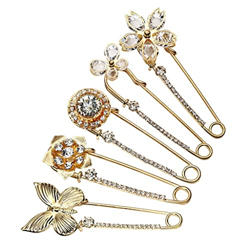 96f96be7c Top Plaza Pack of 5 Women Fashion Rhinstone Crystal Accented Golden Safety  Pin Jewelry Brooch Breastpin