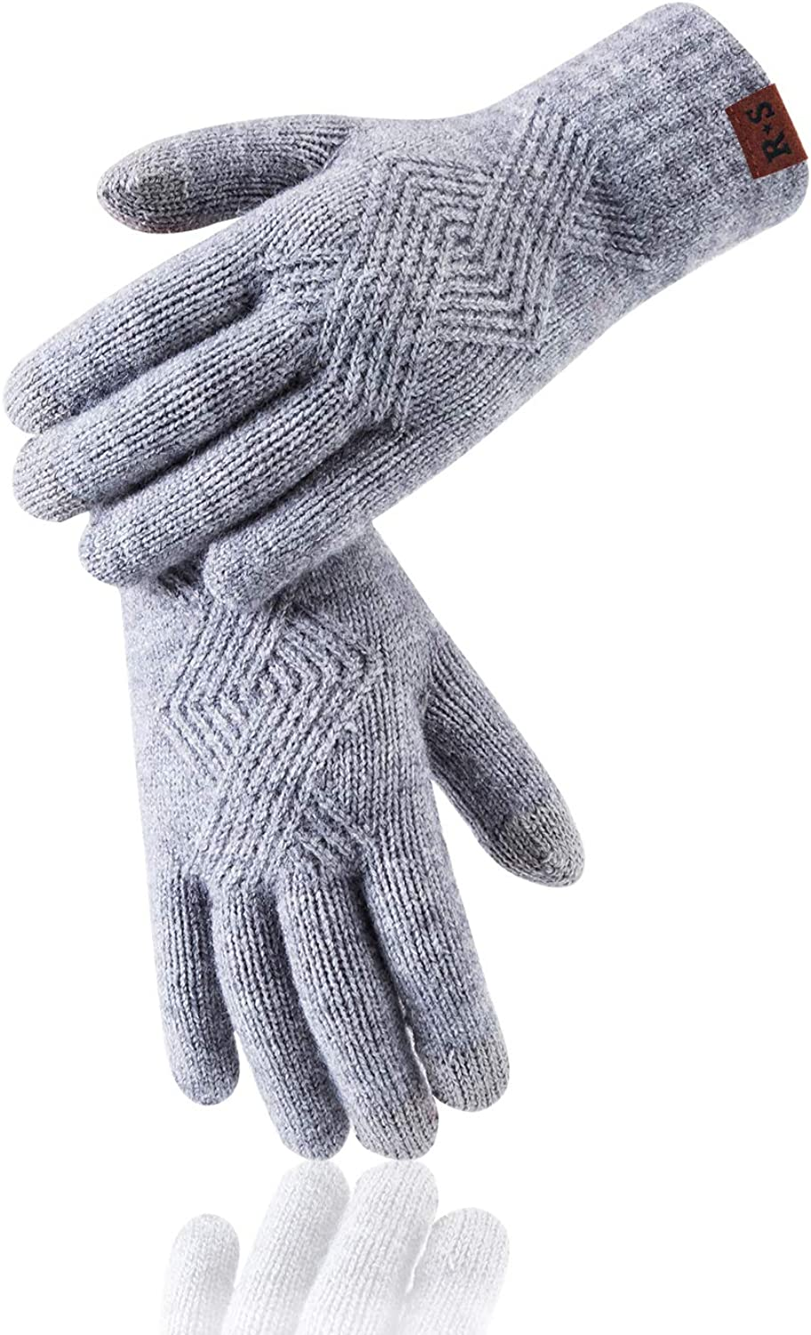 Reach Star Winter Women Touchscreen Gloves Cable Knit Warm Lined 3 Fingers Touch Screen Texting Mitten Gloves for Walking