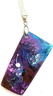Collar unisex colgante de resina hecho a mano con idea de regalo de joyería azul púrpura