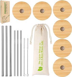 Wide Mouth Mason Jar Lids, Mason Jar Lids With Straw Hole, 6 Pack Bamboo Mason Jar Lid & 3 Stainless Steel Boba Straw & 3 Stainless Steel Thin Straw - 6 Pack Set