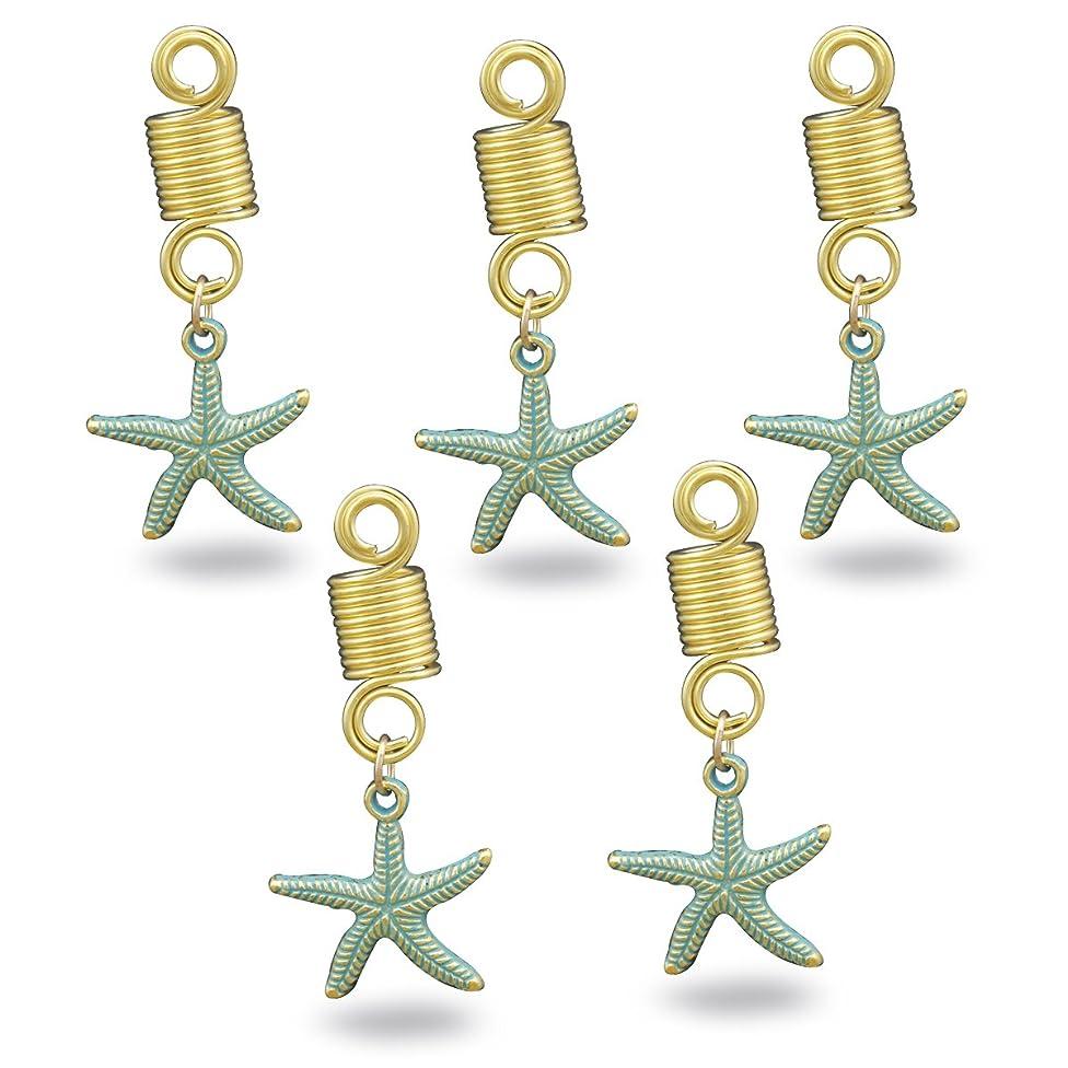 RechicGu Pack 5 Viking Starfish Beach Star Fish Dreadlock Rasta Beard Bead Braid Hair Cuff Dress Clip Pin
