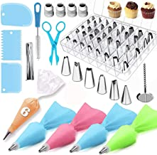 Cake Icing Decorating Tools Set 72-in-1 Baking Accessories with 48 pcs Cake Icing Tips 2pcs flower decoration, Piping Past...