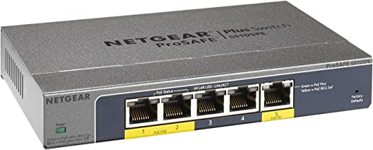 Netgear GS105PE-10000S - Switch ProSAFE (5 Puertos Ethernet Gigabit, con PoE Web Managed y garantía Durante su Vida útil)