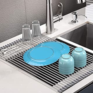 Roll Up Dish Drying Rack, Stainless Steel Over Sink Dish Drying Rack, Multi-Use Foldable Dishes Holder Sink Drain for Kitc...
