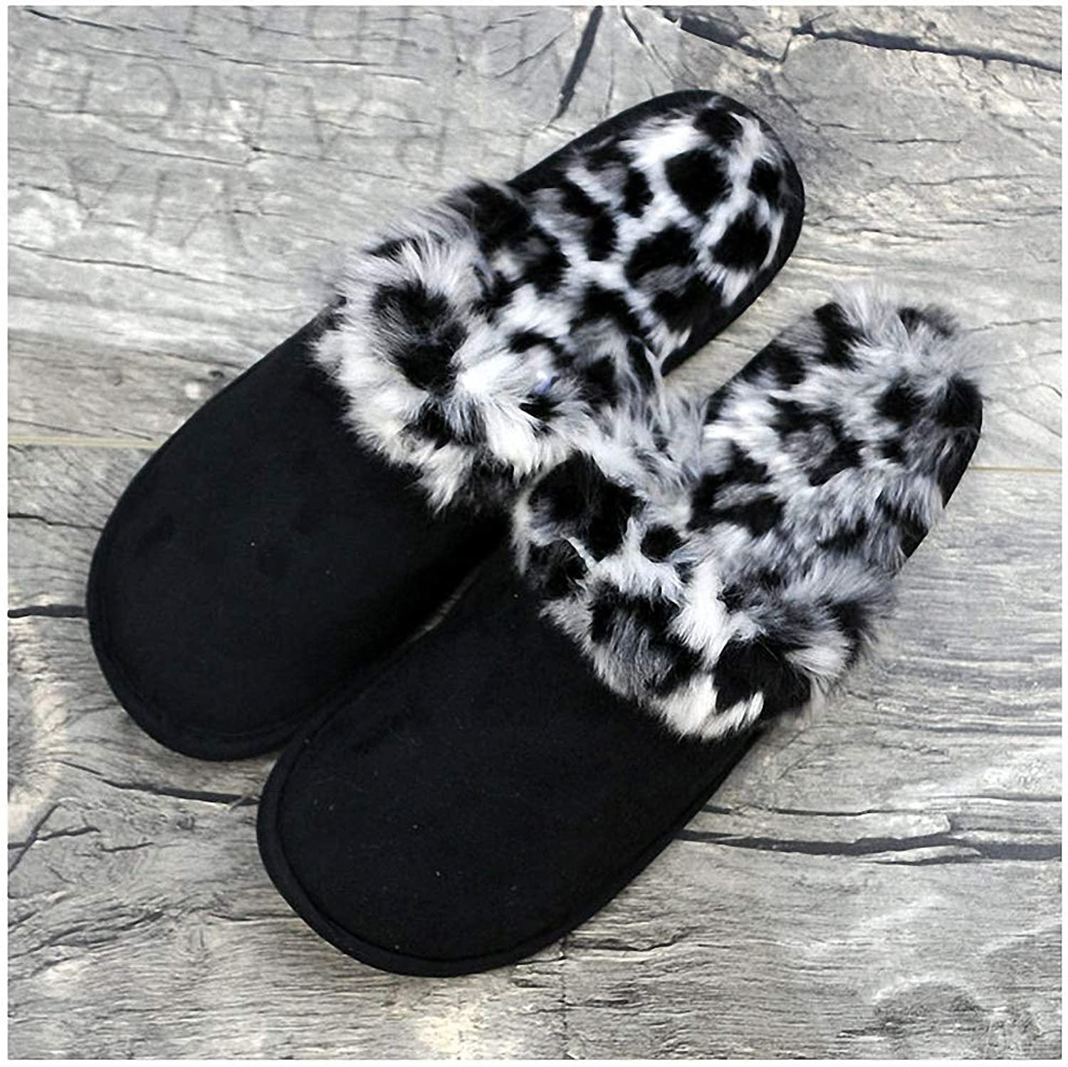 Womens Slippers Large Size Couples House Slippers for Men Women Winter Warm Faux Suede Fur Indoor Furry Home shoes Leopard Print Bedroom Slipper Black Leopard Print 15