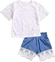 Toddler Baby Girl Lace Shorts Set Short Sleeve Top + Denim Flower Embroidery Stitching Splice Shorts