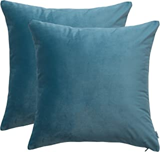 Vilygo Pack of 2, Velvet Decorative Square Throw Cushion Covers Cozy Soft Sofa Couch Set Pillow Case (Peacock Blue, 16