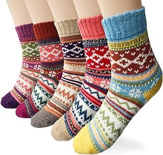 Loritta, 5 pares para mujer clima frío suave cálido de grosor Knit Crew Casual invierno Calcetines de lana