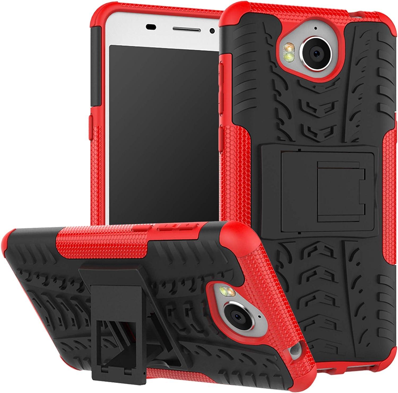 LFDZ Huawei Y5 2017 Funda, Soporte Cáscara de Doble Capa de Cubierta Protectora Heavy Duty Silicona híbrida Caso Cover Funda para Huawei Y5 2017 / Huawei Y6 2017 Smartphone,Rojo