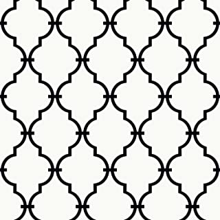 York Wallcoverings Peek-A-Boo Graphic Trellis Removable Wallpaper, White/Black