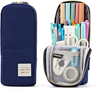 ANGOOBABY Standing Pencil Case Canvas Pencil Pouch Pen Bag for Teen Girl Boy Students (Navy)