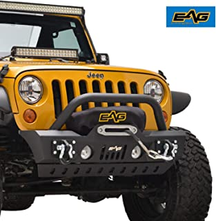 EAG Front Bumper Stubby with Skid and Winch Plate Fit for 07-18 Jeep Wrangler JK Offroad