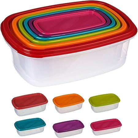 Silley 6 Boites Alimentaires Lot de 6 Boites en Plastique Emboitables + Couvercles - Boîtes de Conservation Rectangulaire - pour Lave Vaisselle, Four à Micro-Ondes et Congélateur