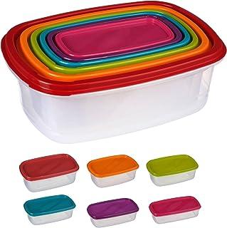 Silley 6 Boites Alimentaires Lot de 6 Boites en Plastique Emboitables + Couvercles - Boîtes de Conservation Rectangulaire...