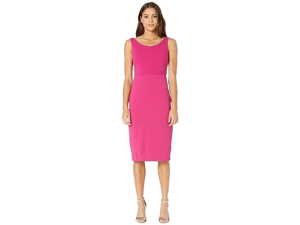 Betsey Johnson Scuba Crepe Midi Dress (Pink) Women