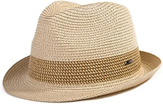 Comhats Summer Panama Fedora Trilby Straw Sun Hats for Men Safari Beach Hat - Foldable