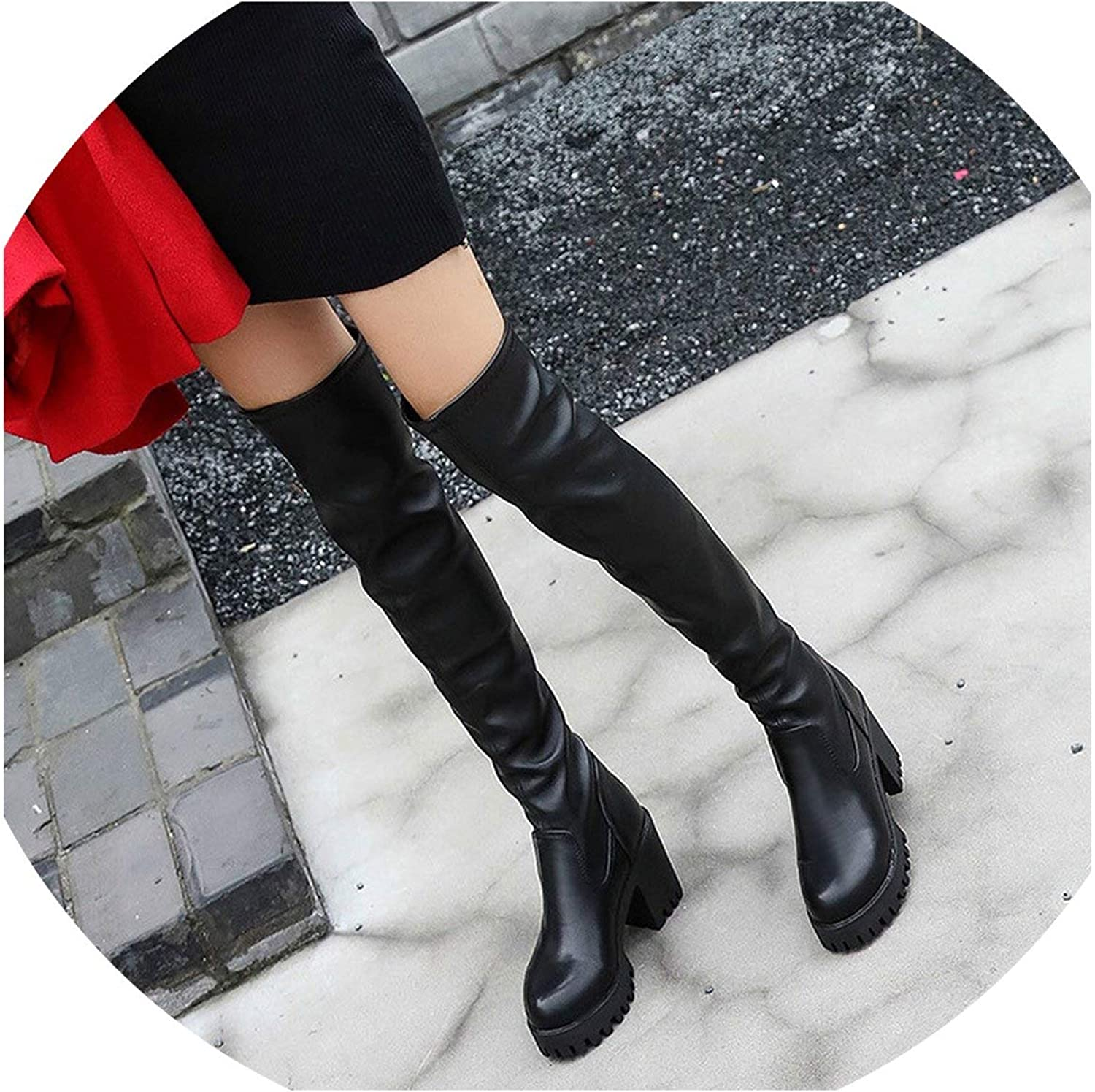 Women Boots Autumn Winter Ladies pu Leather shoes Over The Knee Thigh High Long Boots