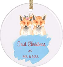 PrJoyint Charming Fox Couple Our First Christmas Wedding Ornament First Married Christmas Ornament- First Christmas as Mr. & Mrs.