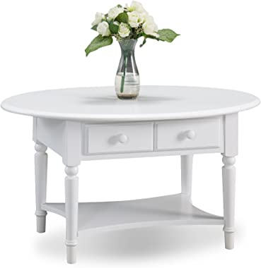 Leick Coastal Oval Coffee Table with Shelf, Orchid White
